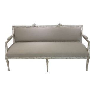 Vintage French Tan Settee For Sale