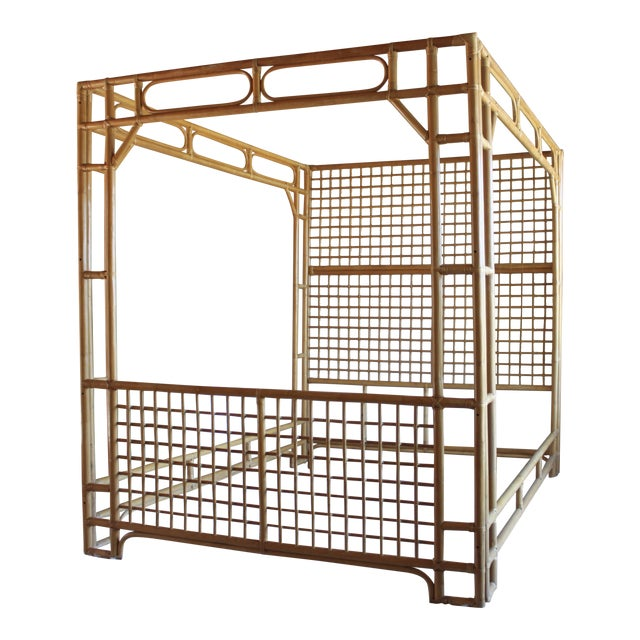 Vintage Queen Rattan and Bamboo Chippendale Chinoiserie Canopy Bed - Image 1 of 11