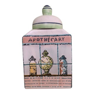 French Modern Hand Painted Apothecary Scene Jar For Sale