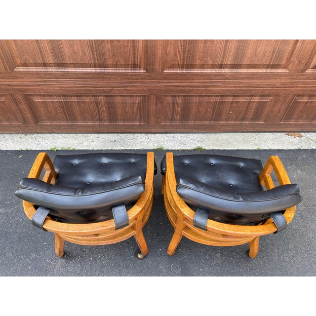 Mid-Century Modern 1970s Vintage Drexel Exposed Wood Frame Club Chairs For Sale - Image 3 of 9