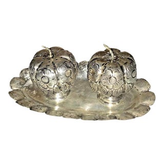 Vintage 1940s Mexican Silver Pumpkin Salt & Pepper Shaker with Tray - Set of 3 For Sale