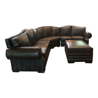 Western Leather Ranch L Shaped Sectional For Sale
