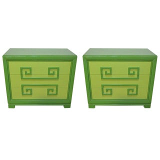 Green Kittinger Two-Tone Greek Key Chests - A Pair