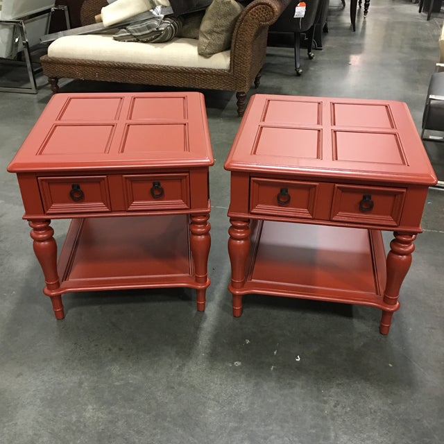 Bassett Orange End Table - Pair - Image 2 of 6
