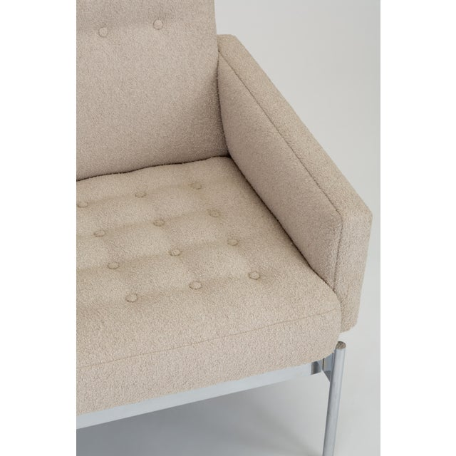 Mid-Century Modern Tufted Bouclé Sofa With Chrome Base For Sale - Image 11 of 13
