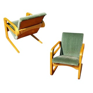 "Restored 1938 Kem Weber ""Airline"" Armchairs for Walt Disney, Pair For Sale"