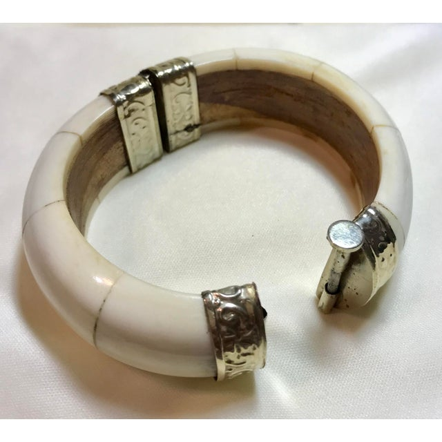 Bone, Wood and Silver Plate Hinged Bangle For Sale In Los Angeles - Image 6 of 7