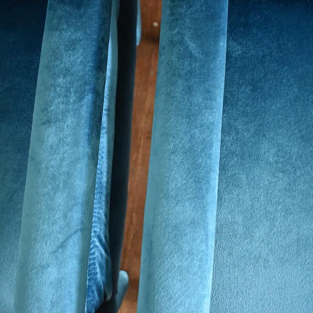 Mid 20th Century Mid-Century Blue Velvet Open Arm Club Chairs - a Pair in the Style of Milo Baughman For Sale - Image 5 of 9