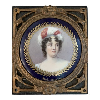 Antique Stoel-Holstein Hand Painted Ceramic Baroness Napoleonic Period Miniature Portrait Medallion For Sale