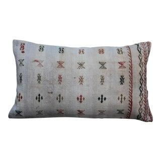 Beige Kilim Cushion Lumbar Pillow For Sale