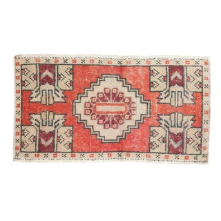"Vintage Distressed Oushak Rug Mat - 1'8"" X 2'11"" For Sale"