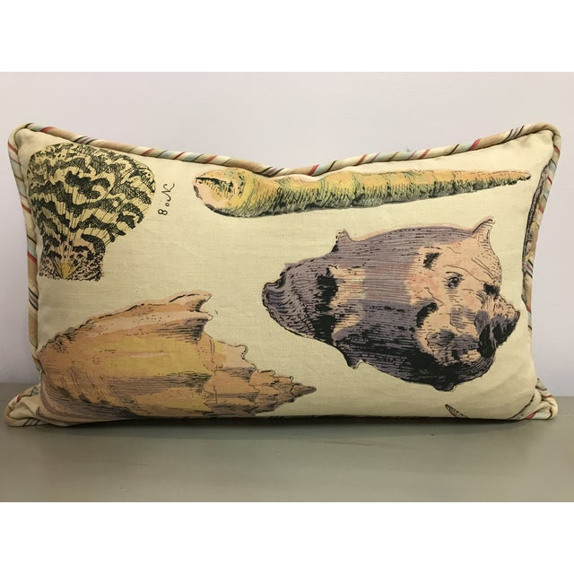 2010s Specimen Sea Shell Design Decorative Lumbar Throw Pillows - a Pair For Sale - Image 5 of 7