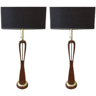 Pair of Sculptural Walnut and Brass Lamps by Lightolier