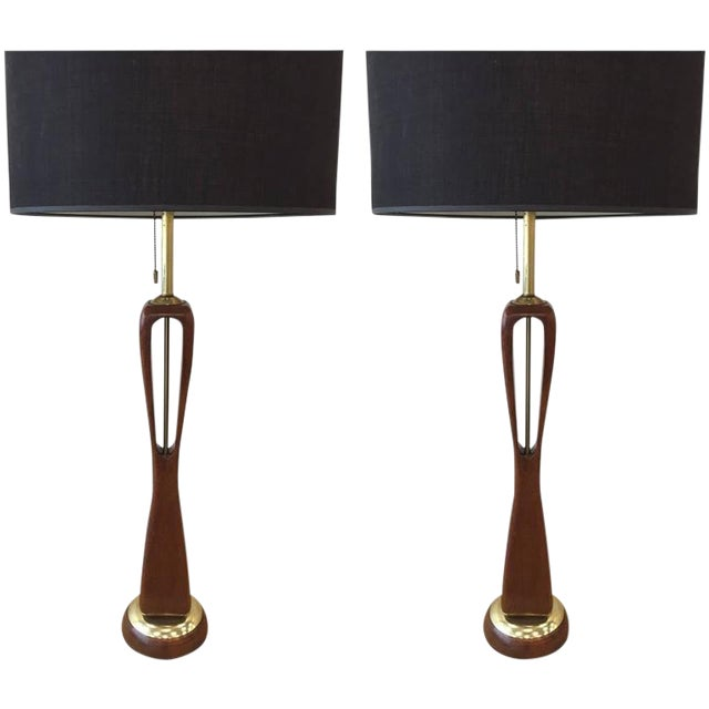 Pair of Sculptural Walnut and Brass Lamps by Lightolier For Sale