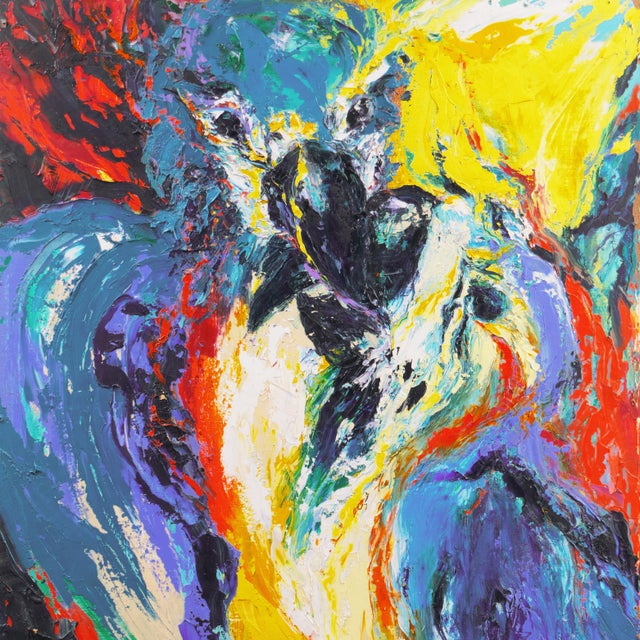 1990s 'Perroquets' by Rosemary Hornak, 1992 Expressionist Oil, Parrots, Detroit Woman Artist For Sale - Image 5 of 7