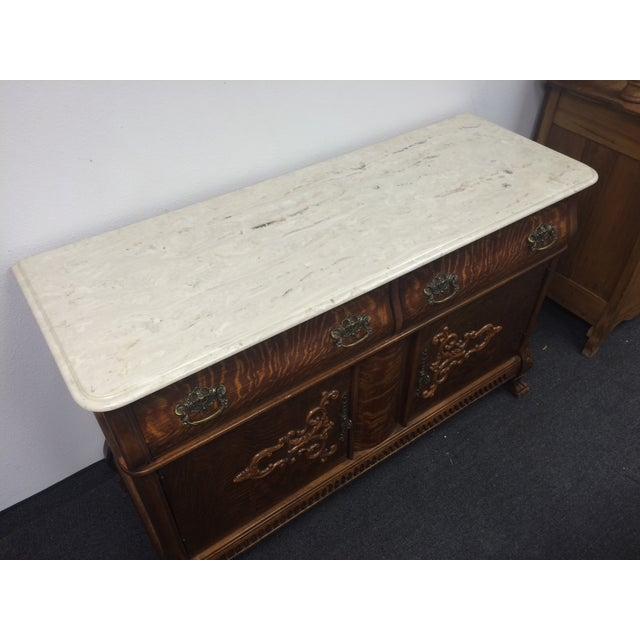 Tiger Maple Marble-Top Buffet with Claw Feet - Image 6 of 9