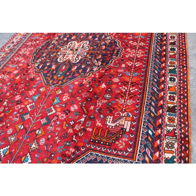 "1970s 1970's Persian Qashqai Area Rug-6'4'x9'4"" For Sale - Image 5 of 10"