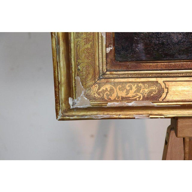 Italian Oil Painting Mountain Landscape With Golden Frame For Sale - Image 6 of 13