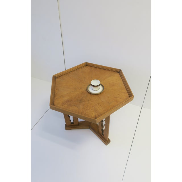 Wood Hexagon Wood Side or End Table Esperanto by Drexel For Sale - Image 7 of 13
