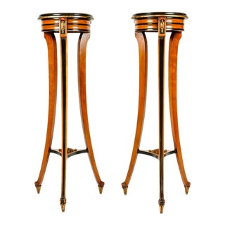 Antique English Sand Wood Mahogany Stands or Pedestals - a Pair For Sale
