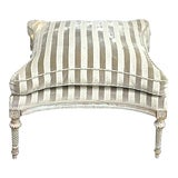 Image of Antique Carved & Striped Upholstery Ottoman For Sale