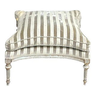 Antique Carved & Striped Upholstery Ottoman For Sale