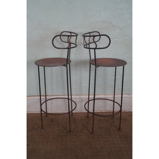 Country Vintage Distressed Industrial Metal Bar Stools For Sale - Image 3 of 7