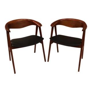 Pair - Vintage Danish Teak Erik Kirkegaard Compass Chair For Sale