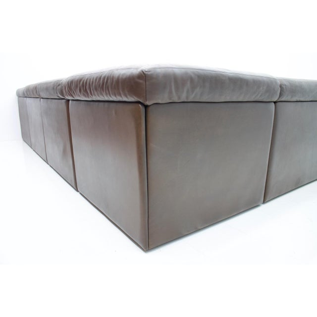 Large Modular Leather Sofa in Dark Brown Leather by De Sede, Switzerland, 1970s For Sale - Image 9 of 11