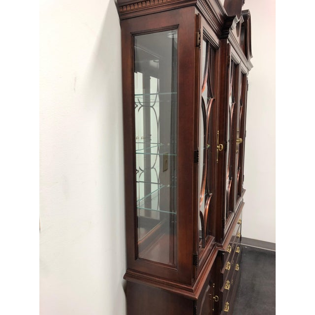 1980s Thomasville Collector's Cherry Monumental Breakfront China Display Cabinet For Sale - Image 5 of 13