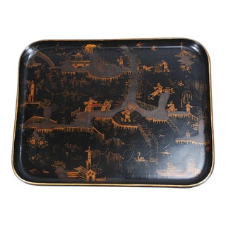 19th C. Black and Gold Lacquer Tray For Sale