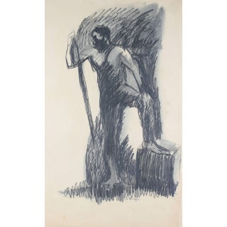 Alysanne McGaffey Standing Male Figure Drawing in Charcoal, Circa 1960s For Sale
