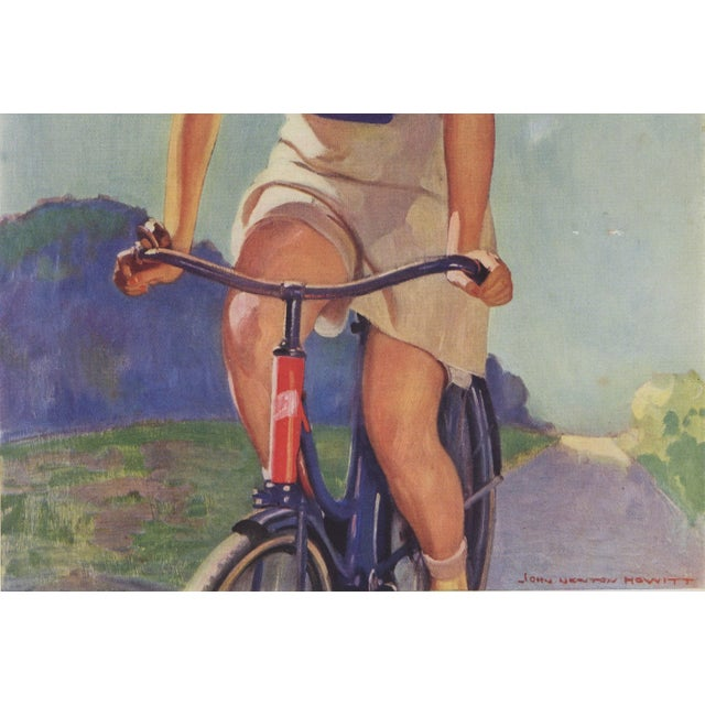Contemporary Matted Vintage Print-Woman Cyclist on Bike For Sale - Image 3 of 5