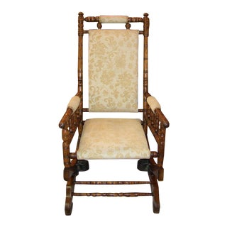 19th C. American Hunzinger Style Walnut Platform Rocking Chair For Sale