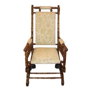 19th C. American Hunzinger Style Walnut Platform Rocking Chair For Sale