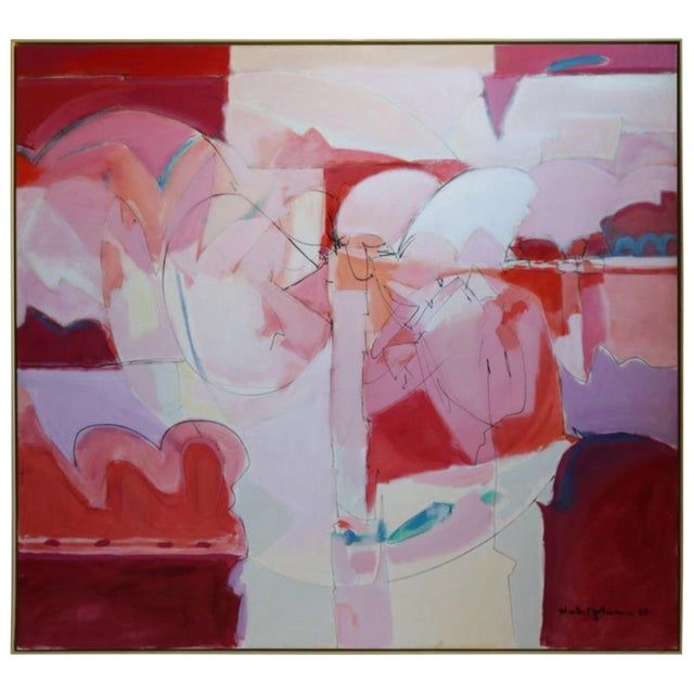 Huge Wesley Johnson Abstract Oil Painting in Variation of Pink For Sale