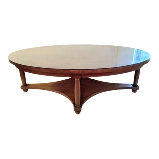 Vintage Transitional Oval Baker Coffee Table For Sale