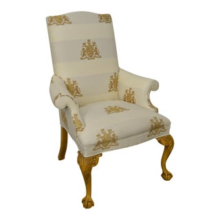 Thomasville Custom Lion Coat of Arms Upholstered Ball & Claw Wing Chair For Sale