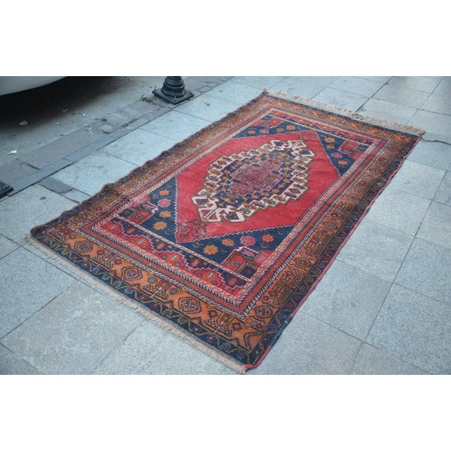 Vintage Anatolian Tribal Turkish Rug - 4′5″ × 7′9″ - Image 3 of 6