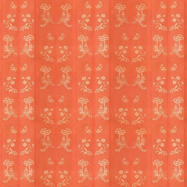 Chinoiserie Suzanne Tucker Home Pagoda Silk Fabric in Coral For Sale - Image 3 of 3