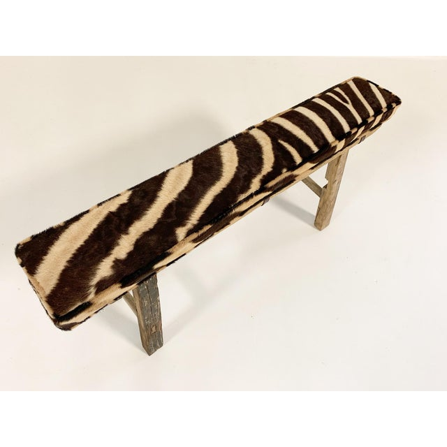 Chinese Elmwood Bench With Zebra Cushion For Sale - Image 4 of 6