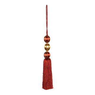 Merrivale Red & Gold Beaded Key Tassel For Sale