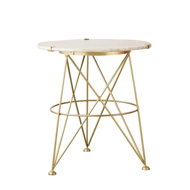 Classic Metal Table With Marble Top For Sale - Image 4 of 4