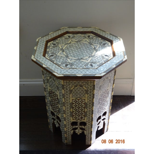 Syrian or Moroccan Mother of Pearl Inlay Side Table - Image 2 of 9