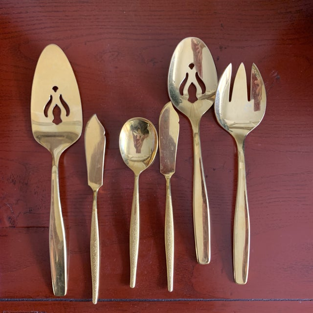 Midcentury Japan, Gold Stainless Flatware Set of 100 For Sale In Los Angeles - Image 6 of 13