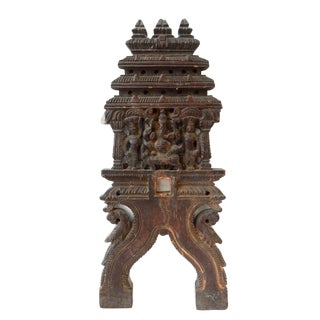 Antique Wood Carving with Ganesh India For Sale