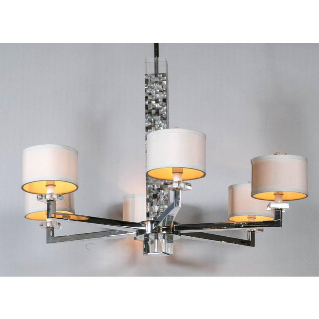 Contemporary Mother of Pearl Micro Mosaic Decorated Chandelier For Sale - Image 3 of 8