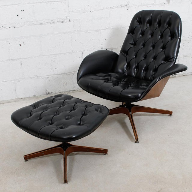MCM Mulhauser Molded Wood Lounge Chair & Ottoman - Image 3 of 10