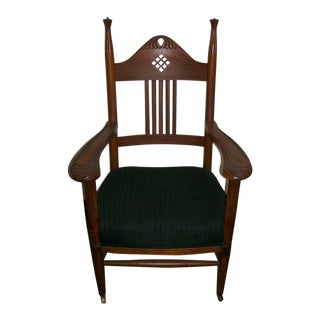 1890s Art Nouveau Hand Carved Cherry Chair
