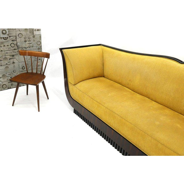 Large French Art Deco Rosewood Sofa in Gold Upholstery Scalloped Edge For Sale - Image 9 of 13